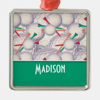 Cute Golf Balls & Tees Pattern Christmas Ornament