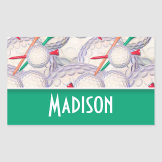 Cute Golf Balls & Tees Pattern Rectangular Sticker