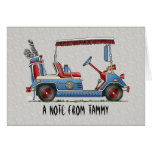 Cute Golf Cart Stationery Note Card
