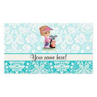Cute Golf; Damask Pattern Double-Sided Standard Business Cards (Pack Of 100)