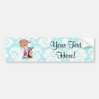 Cute Golf; Damask Pattern Car Bumper Sticker