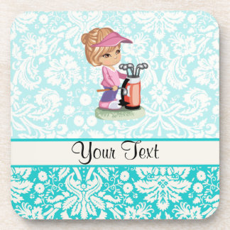 Cute Golf; Damask Pattern Coaster