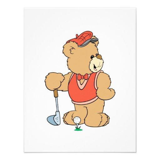 Cute Golfing Golfer Bear Custom Announcement