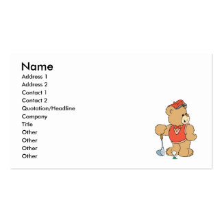 Cute Golfing Golfer Bear Double-Sided Standard Business Cards (Pack Of 100)
