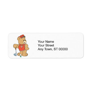 Cute Golfing Golfer Bear Label