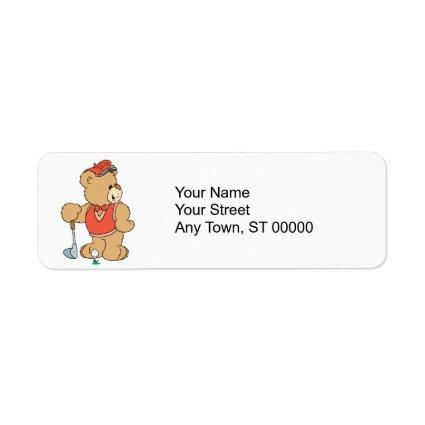Cute Golfing Golfer Bear Custom Return Address Labels