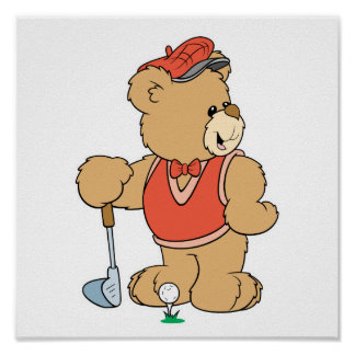 Cute Golfing Golfer Bear Posters
