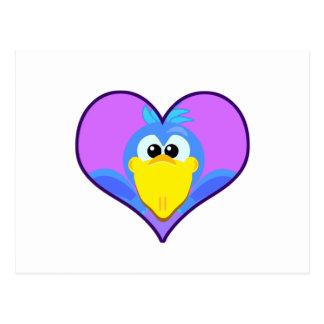 Cute Goofkins blue bird heart Postcard