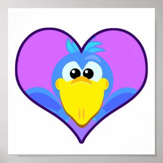 Cute Goofkins blue bird heart Poster