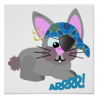 Cute Goofkins bunny rabbit pirate Print