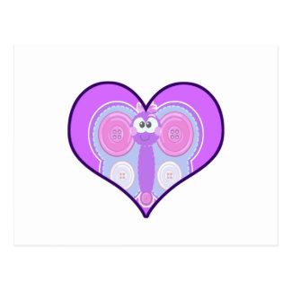 Cute Goofkins  button butterfly heart Postcard