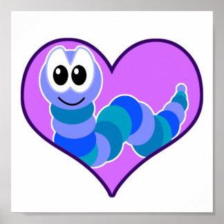 Cute Goofkins caterpillar heart Print