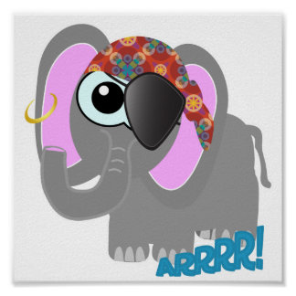 Cute Goofkins elephant pirate Poster