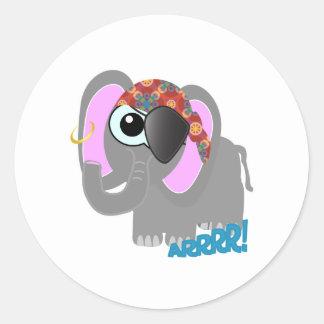 Cute Goofkins elephant pirate Classic Round Sticker