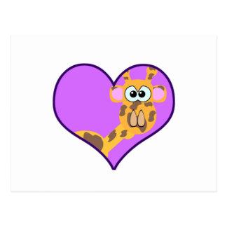 Cute Goofkins giraffe heart Postcard