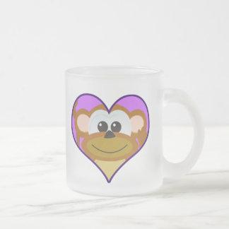 Cute Goofkins monkey heart Frosted Glass Coffee Mug