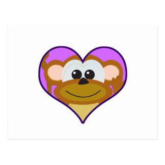 Cute Goofkins monkey heart Postcard
