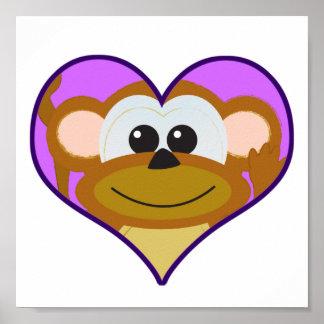 Cute Goofkins monkey heart Print