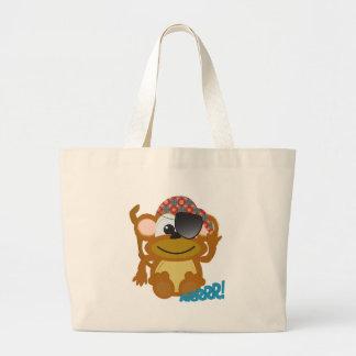 Cute Goofkins monkey pirate Large Tote Bag