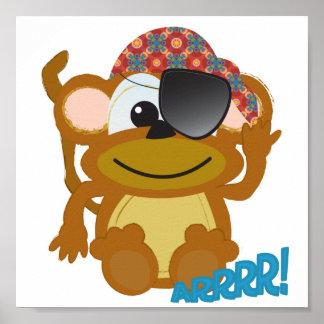 Cute Goofkins monkey pirate Poster