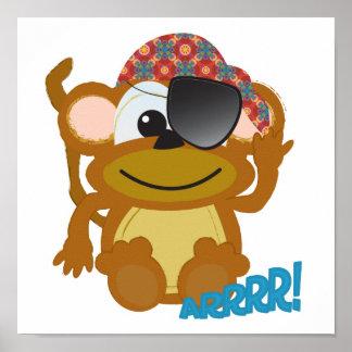 Cute Goofkins monkey pirate Print
