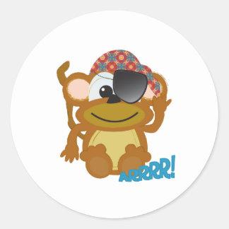 Cute Goofkins monkey pirate Round Sticker