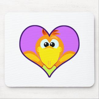 Cute Goofkins orange chick bird heart Mouse Pad