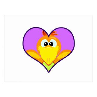 Cute Goofkins orange chick bird heart Postcard