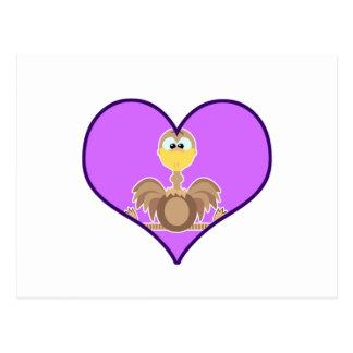 Cute Goofkins ostrich heart Postcard