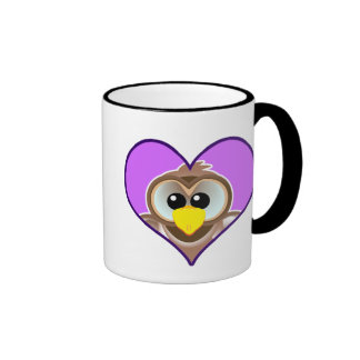 Cute Goofkins owl heart Ringer Coffee Mug