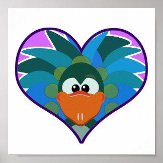 Cute Goofkins peacock heart Poster