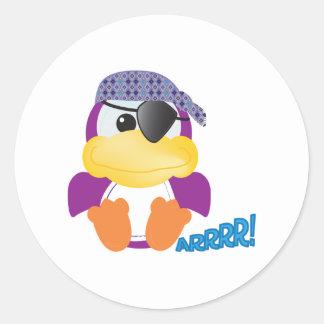 Cute Goofkins  purple pirate ducky Classic Round Sticker