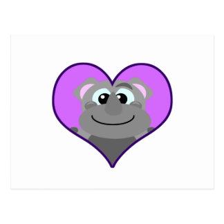 Cute Goofkins rhino heart Postcard