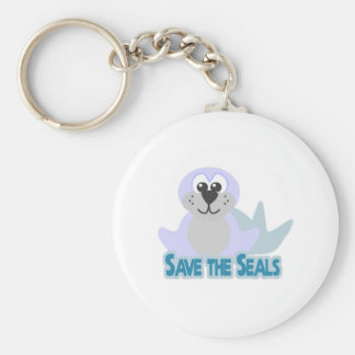 Cute Goofkins save the seals Basic Round Button Keychain