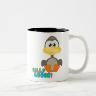 Cute Goofkins silly goose Two-Tone Coffee Mug