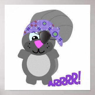 cute goofkins squirrel pirate poster
