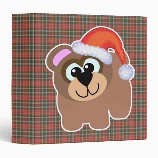 Cute Goofkins Xmas brown bear santa Vinyl Binder