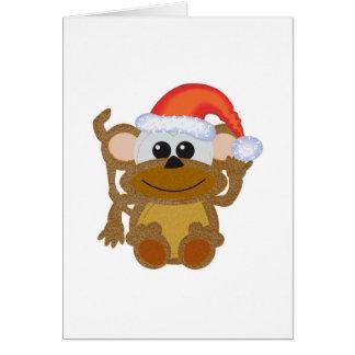 Cute Goofkins Xmas furry monkey santa Card