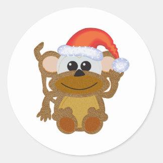 Cute Goofkins Xmas furry monkey santa Classic Round Sticker