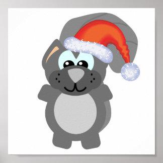 Cute Goofkins Xmas grey squirrel santa Poster