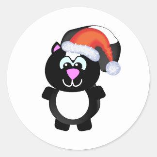 Cute Goofkins Xmas skunk santa Round Sticker