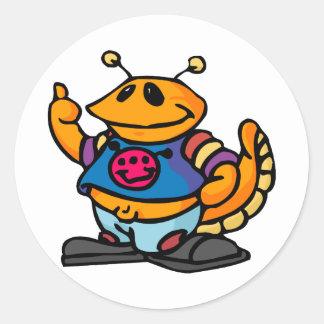 Cute Goofy Alien Classic Round Sticker