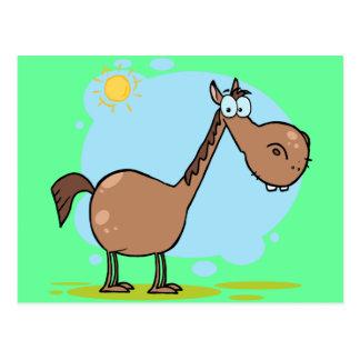 Cute Goofy Brown Cartoon Horse Postcard