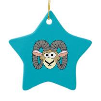 Cute Goofy Ram Sheep Ceramic Ornament