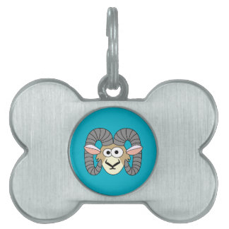 Cute Goofy Ram Sheep Pet ID Tag