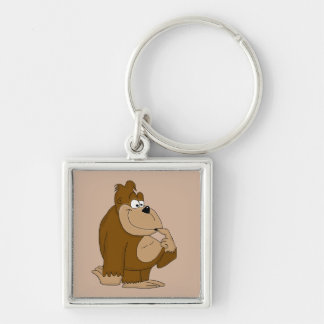 Cute gorilla Silver-Colored square keychain