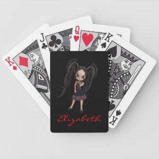 Cute Goth Anime Kawaii Cartoon Girl 3D Character Bicycle Playing Cards