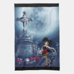 Cute Goth girl dancing in the graveyard Kitchen Towel