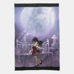 Cute Goth girl dancing in the moonlight Kitchen Towel