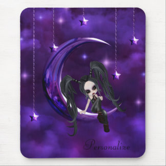 Cute Goth Girl on Hanging Moon Mousepad